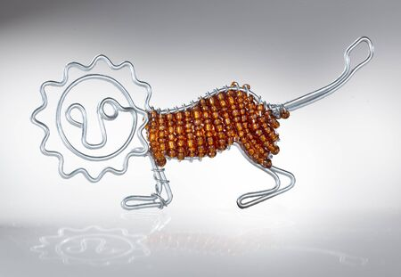 Cecina, Leghorn, Tuscany - lion built in an artisanal way, hand made with iron wire and beads, author of the work Roberto Nencini