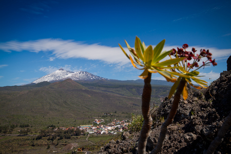 Tenerife, Canary Islands, Spain - Teide National Park with great volcano 스톡 콘텐츠