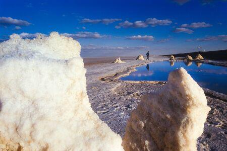 Chott El Jerid, Tunisia - is large endorheic salt lake in southern Tunisia Stock Photo