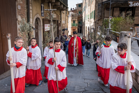 CAMPIGLIA MARITTIMA, TUSCANY, ITALY - March 25, 2018: Campiglia Marittima, Province of Livorno in the Italian region Tuscany, located about 100 kilometers from Florence, Palm Sunday of Holy Easter Week