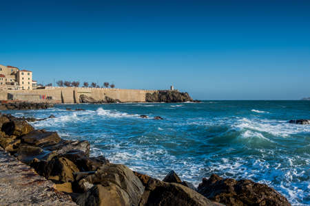 Piombino, Tuscany, Italy - ancient fishing port with the Citadel