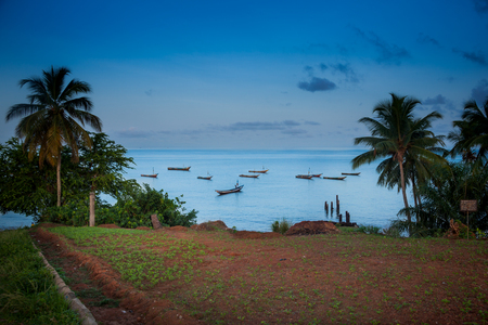 YONGORO, SIERRA LEONE - June 05, 2013: West Africa, the beach with fishing boats in front of the capital Freetown, Sierra Leone