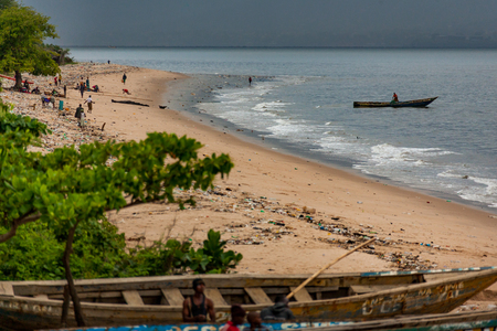 Yongoro, Sierra Leone - May 30, 2013: West Africa, the beaches of Yongoro in front of the capital of the Sierra Leone, Freetown