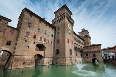 FERRARA, ITALY - Castello (Castle) Estense, a four towered fortress from the 14th century, Ferrara, E,ilia-Romagna, Italy Editorial