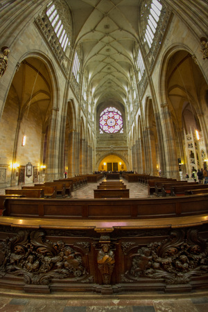 Interiors of St Vitus Cathedral, Wenceslaus and Adalbert, Prague, Czech Republic