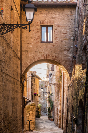 Typical streets in the historic center of Colle di Val d'Elsa, in the province of Siena