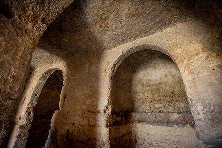 The city of Matera, in the province of Basilicata, Italy,  2019 European Capital of Culture.  rocky Church of Saint Falcione