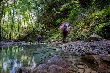 Trekking excursion in the cold and crystalline waters of the Ghiaccioni waterfall, Chianni in the municipality of Castellina Marittima, Pisa, Tuscany