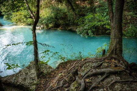 Alta Val d'Elsa river park, the trail starts in Gracciano and reaches in Colle Val d'Elsa (Siena, Tuscany) the river's waters are clear and of an intense turquoise color and are part of a protected natural area