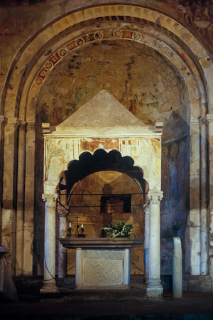 Tuscania, inside of the church of Saint Peter in Romanesque style is the most important monument of the medieval city of Etruscan culture located in central Italy a few kilometers from the sea, Lake Bolsena and Viterbo, Latium, Italy Editöryel