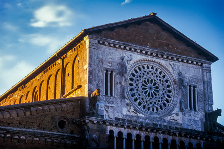 Tuscania, the marble rose window of the church of Saint Peter in Romanesque style is the most important monument of the medieval city of Etruscan culture located in central Italy a few kilometers from the sea, Lake Bolsena and Viterbo, Latium, Italy Editorial