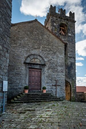 The old village of Pontito with the church of SS. Andrea and Lucia, walking along the Lucchese Apennines, Lucca - Tuscany, Italy