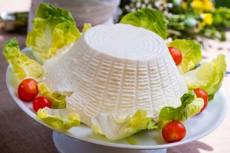 Processed foods for aperitifs, Italian sheep ricotta with tomatoes compounds and preparations for tastings