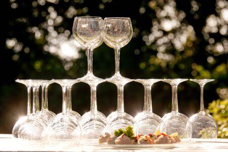 Backlight on a set of wine glasses