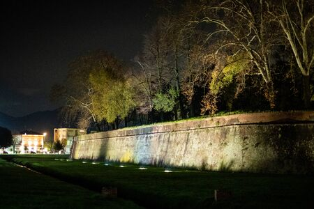 Lucca - the wall by night near the Porta Elisa entrance door to the city
