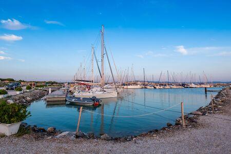 Panoramic view of the port of Cecina Marina, Tyrrhenian Sea, Livorno, Tuscany, Italy Stock Photo