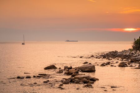 Panoramic view of the sea of Quercianella, Tyrrhenian Sea, Livorno, Tuscany, Italy