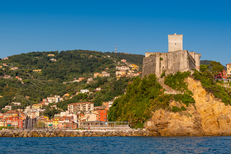View from the sea of the urban landscape of Lerici and of the Castle of San Terenzo, Gulf of La Spezia also called Gulf of poets, Liguria, Italy, Europe Redactioneel
