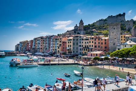 View of the entrance of harbour of Porto Venere (UNESCO World Heritage) - La Spezia, Liguria, Italy