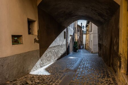 Typical streets of the medieval historic village in via di Santo Paolo della Croce in Montalto di Castro enclosed between the coasts of the Tyrrhenian sea, the waters of the Fiora river and the countryside of the Maremma Latium Stockfoto