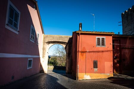 Entrance door to the historic center at Guglielmi square in Montalto di Castro enclosed between the coasts of the Tyrrhenian sea, the waters of the Fiora river and the countryside of the Maremma Latium Stockfoto