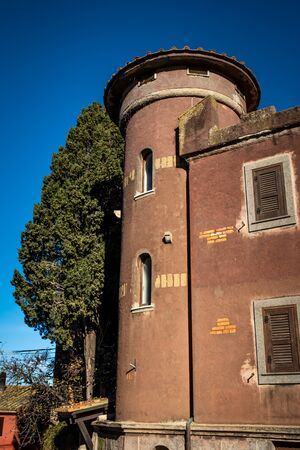 Felice Guglielmi square on which the neoclassical facade of Santa Croce overlooks in Montalto di Castro enclosed between the coasts of the Tyrrhenian sea, the waters of the Fiora river and the countryside of the Maremma Latium