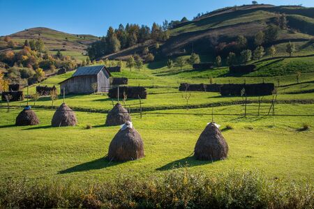 Maramures, the isolated Carpathian region of Romania, is nature to mark the rhythms of life and everything is still tied to the land. Landscape with haystacks. Romania, Europe