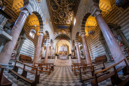 Interior of the Cathedral of Santa Maria Assunta in Volterra, with its double walls, the Etruscan and the thirteenth-century ones, is a medieval-looking city, Province of Pisa, Tuscany, Italy