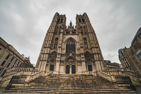 Cathedrale des sts Michel et Gudule Gothic Brabantine facade is a renaissance and imposing cathedral exterior. This fine architectural artwork conveys the importance of the divine - Brussels, Belgium
