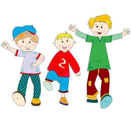 Caricatura de niños felices, ilustración de arte, dibujos más en mi galería Foto de archivo - 5949028
