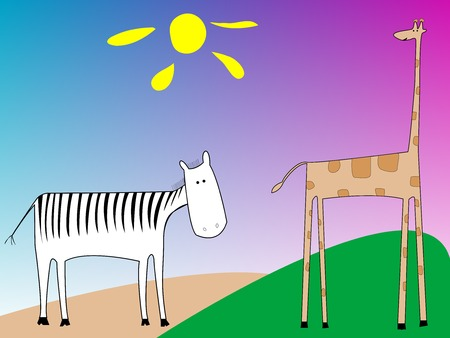 drawing of a zebra and giraffe, vector art illustration, more drawings in my gallery Vector