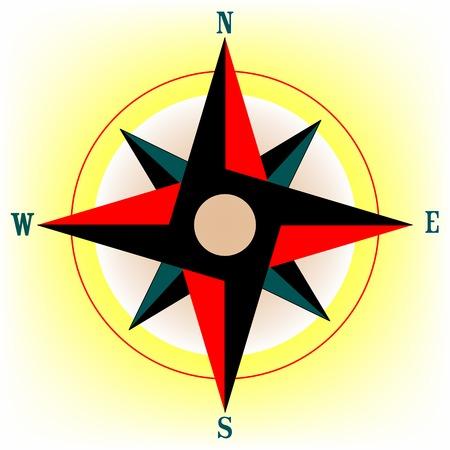Rosa de los vientos, ilustración de arte vectorial  Foto de archivo - 5969220