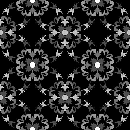 흰색과 검은 색 원활한 꽃 패턴, 벡터 아트 그림 일러스트