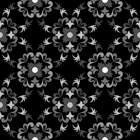 white and black seamless floral pattern, vector art illustration Иллюстрация