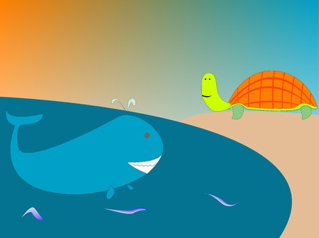 drawing of a whale and turtle, vector art illustration; more drawings in my gallery Vector