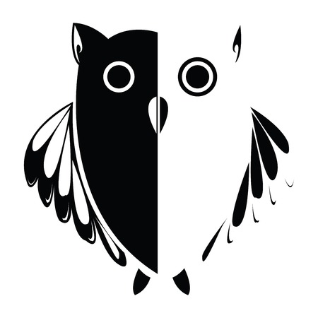 Vector stylized owl, background illustration, vector art, more drawings in my gallery
