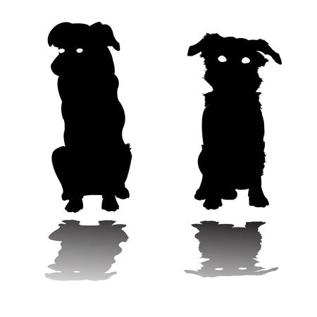 two little dogs silhouettes, vector art  illustration Vector