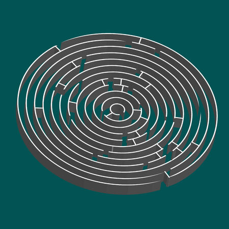 tridimensional: tridimensional round maze, vector art illustration; easy to change colors