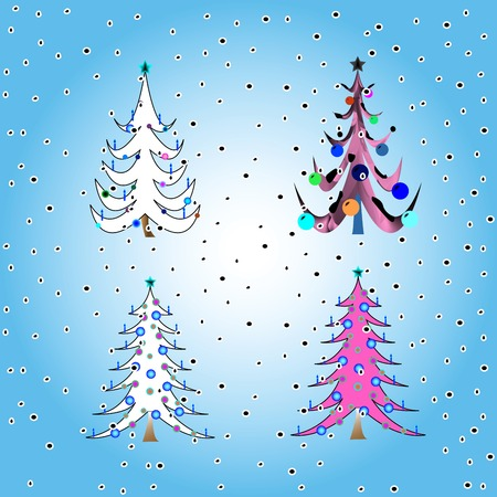 stylized christmas trees, vector art illustration Vector