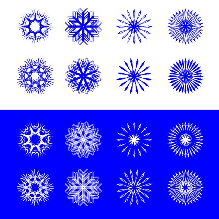 snow flakes collection, vector art illustration; easy to change colors Çizim
