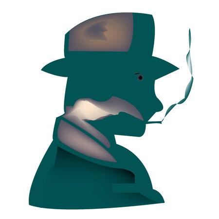 smoker: stylized smoker, vector art illustration; more drawings in my gallery Illustration