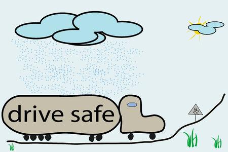drive safe illustration, vector art Vector
