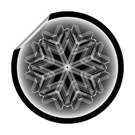 snow flake sticker isolated on white, vector art illustration