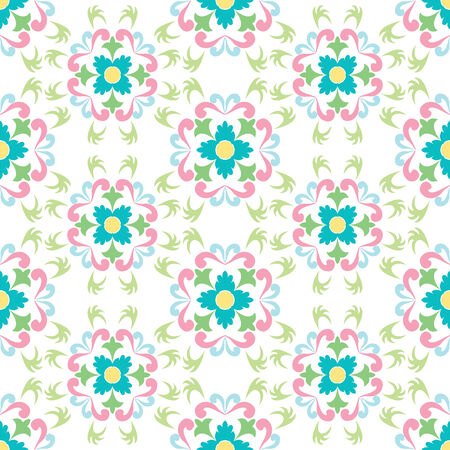 seamless flowers pattern isolated on white, vector art illustration Vector