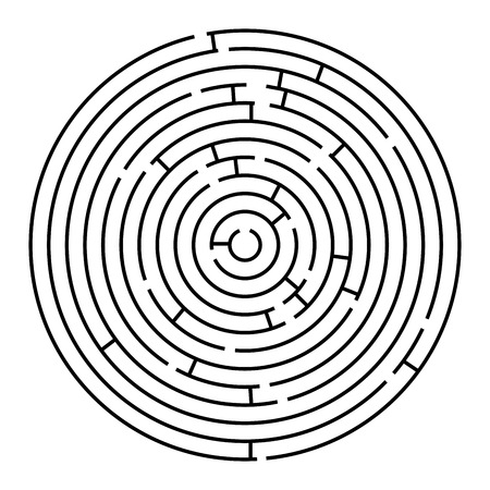 mazes: round maze, vector art illustration; easy to change colors