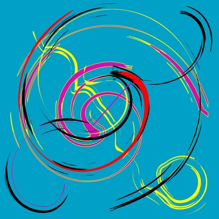 round and colored lines on blue background, vector art illustration; more drawings in my gallery Vector