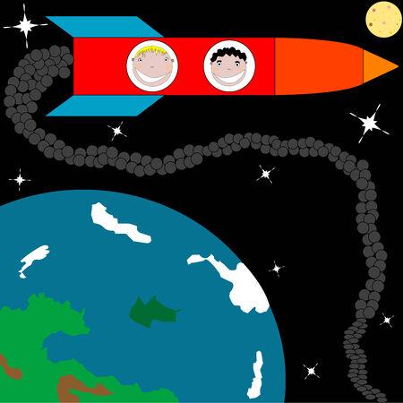 rocket to the moon, vector art illustration Vector