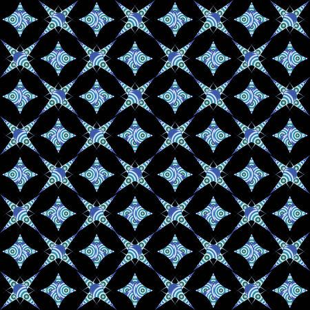retro white and blue seamless pattern on black background, vector art illustration Stock Vector - 6086343