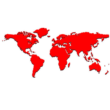 red world map, vector art illustration Vectores
