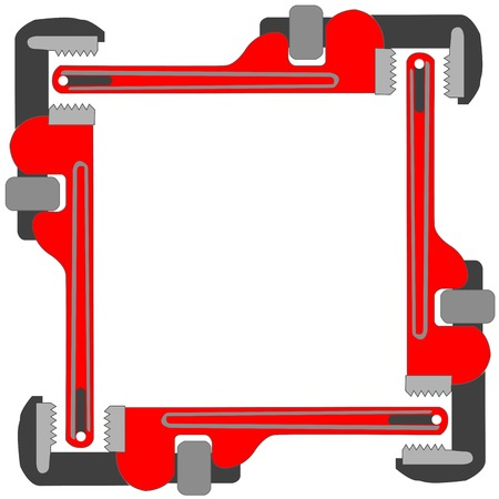 press nuts: pipe wrench photo frame, vector art illustration; more photo frames in my gallery